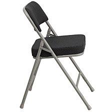 Hercules Series Premium Curved Triple Braced & Double-Hinged Black Pin-Dot Fabric Metal Folding Chair