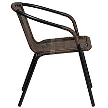 Dark Brown Rattan Indoor-Outdoor Restaurant Stack Chair