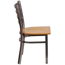 Hercules Series Clear Coated Ladder Back Metal Restaurant Chair - Natural Wood Seat