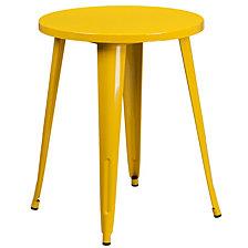 24'' Round Yellow Metal Indoor-Outdoor Table