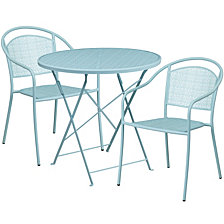30'' Round Sky Blue Indoor-Outdoor Steel Folding Patio Table Set With 2 Round Back Chairs