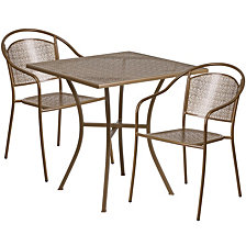 28'' Square Gold Indoor-Outdoor Steel Patio Table Set With 2 Round Back Chairs