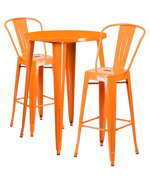 Amazing 30 Round Orange Metal Indoor Outdoor Bar Table Set With 2 Cafe Stools Forskolin Free Trial Chair Design Images Forskolin Free Trialorg