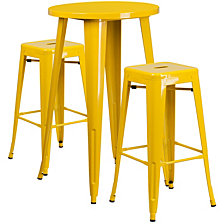 24'' Round Yellow Metal Indoor-Outdoor Bar Table Set With 2 Square Seat Backless Stools