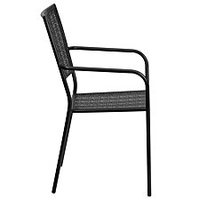 Black Indoor-Outdoor Steel Patio Arm Chair With Square Back
