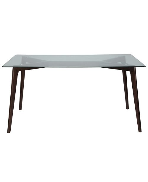 """Flash Furniture Parkside 35.25"""" X 59"""" Rectangular Solid Espresso Wood Table With Clear Glass Top"""