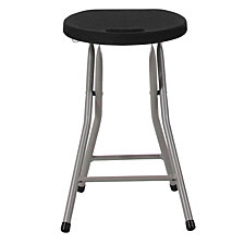 Foldable Stool With Black Plastic Seat And Titanium Frame