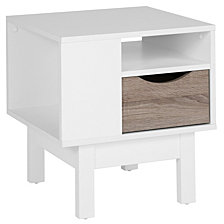 St. Claire Collection End Table In White Finish With Oak Wood Grain Drawer