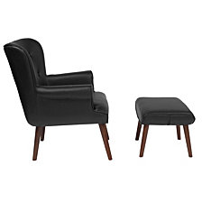 Bayton Upholstered Wingback Chair With Ottoman In Black Leather