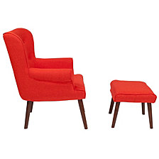 Bayton Upholstered Wingback Chair With Ottoman In Orange Fabric