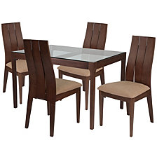 Albany 5 Piece Walnut Wood Dining Table Set With Glass Top And Wide Slat Back Wood Dining Chairs - Padded Seats