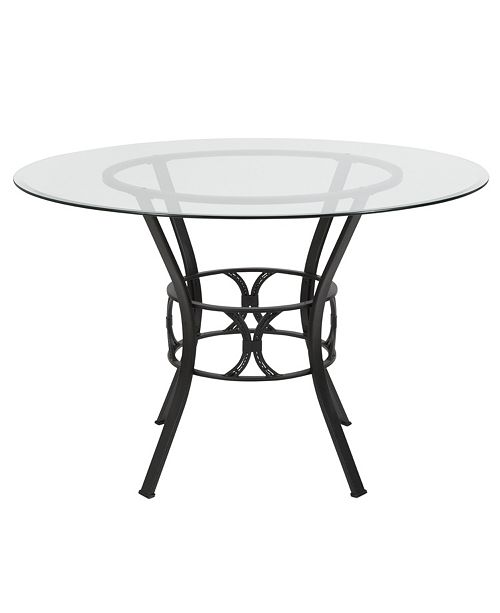 Flash Furniture Carlisle 45'' Round Glass Dining Table With Black Metal Frame
