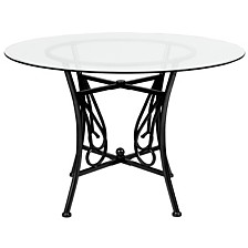 Princeton 45'' Round Glass Dining Table With Black Metal Frame