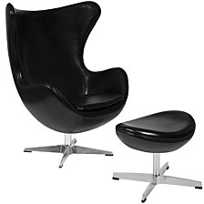 Leather Egg Chair With Tilt-Lock Mechanism And Ottoman
