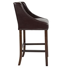 """Carmel Series 30"""" High Transitional Walnut Barstool With Accent Nail Trim In Brown Leather"""