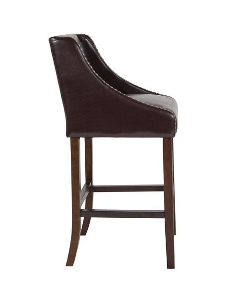 "Flash Furniture Carmel Series 30"" High Transitional Walnut Barstool With Accent Nail Trim In Brown Leather"