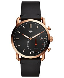 Fossil Men's Tech Commuter Black Leather Strap Hybrid Smart Watch 42mm