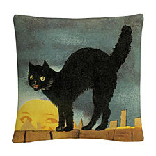 "Black Cat On Fence Night Halloween 16x16"" Decorative Throw Pillow by ABC"