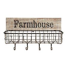 """Farmhouse"" Wall Basket w/Hooks"