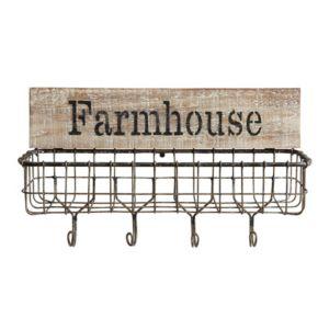"Image of ""Farmhouse"" Wall Basket w/Hooks"