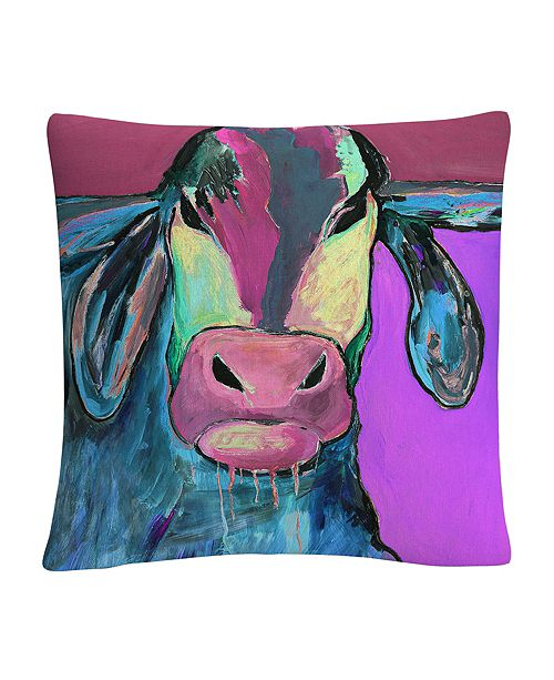 """Baldwin Color Series Bull Drool 2 Animals Pets Painting Bold 16x16"""" Decorative Throw Pillow by Pat Saunders-White"""