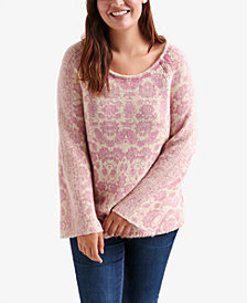 Lucky Brand Trendy Plus Size Damask-Print Sweater