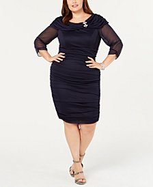 Alex Evenings Plus Size Portrait-Collar Ruched Dress