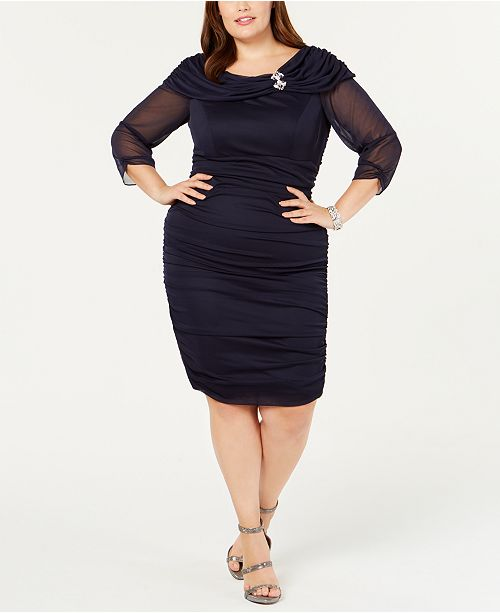 Alex Evenings Plus Size Portrait-Collar Ruched Dress ...