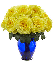 Nearly Natural Rose Artificial Arrangement in Colored Vase