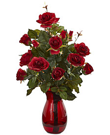 Nearly Natural Garden Rose Artificial Arrangement in Red Vase