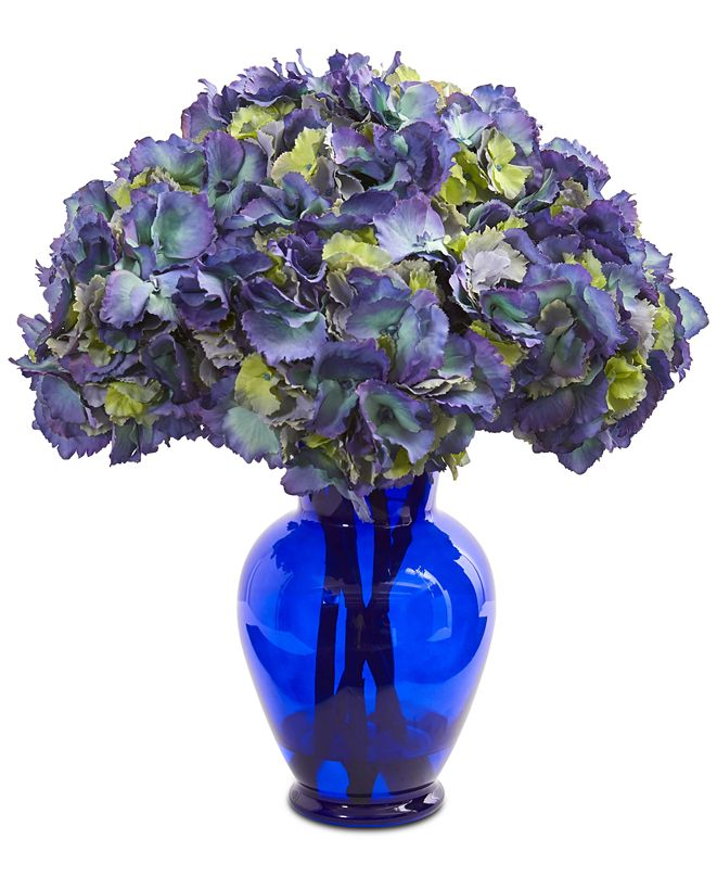 Nearly Natural Hydrangea Artificial Arrangement in Blue Vase