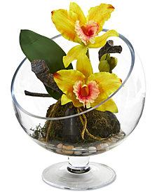 Nearly Natural Mini Cattleya Orchid Artificial Arrangement in Pedestal Vase