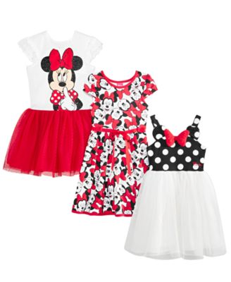 Little Girls Minnie Mouse Polka Dot & Mesh Dress