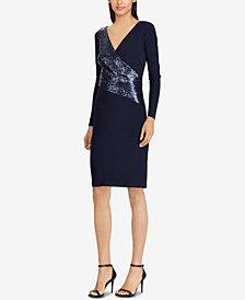 Lauren Ralph Sequin Panel Jersey Dress