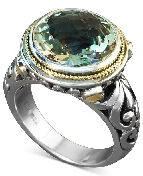 EFFY Collection Balissima by EFFY Green Quartz Round Ring (5 ct. t.w.) in Sterling Silver and 18k Gold