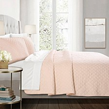 Ava Diamond Oversized Cotton 3-Piece Full/Queen Quilt Set