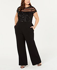 Adrianna Papell Plus Size Sequin Illusion Jumpsuit