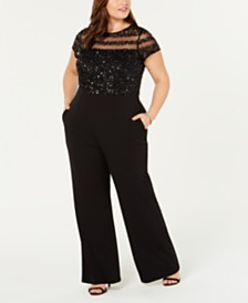 4d83b5a1afc Adrianna Papell Plus Size Sequin Illusion Jumpsuit