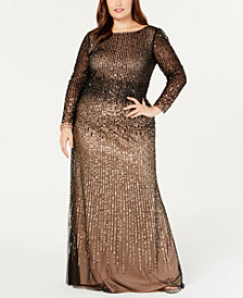 Adrianna Papell Plus Size Long-Sleeve Sequin Evening Gown