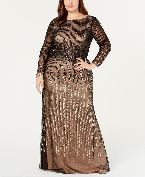 Adrianna Papell Plus Size Long-Sleeve Sequin Evening Gown ...