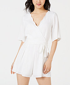 Trixxi Juniors' Scalloped Wrap Romper