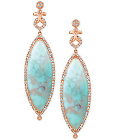 Le Vian® Turquoise Aquaprase (38 x 13mm) & White Topaz (1-3/8 ct. t.w.) Drop Earrings in 14k Rose Gold