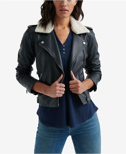 00acf1da4d9 Lucky Brand Sherpa-Collar Leather Jacket   Reviews - Jackets ...