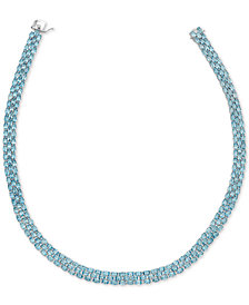 "Blue Topaz 18"" Collar Necklace (20 ct. t.w.) in Sterling Silver"