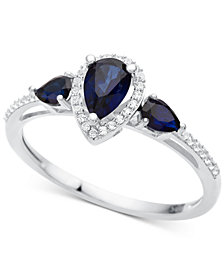 Sapphire (7/8 ct. t.w.) & Diamond (1/10 ct. t.w.) Ring in 10k White Gold (Also in Certified Ruby, Emerald & Tanzanite)