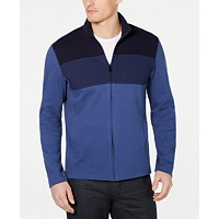 Alfani Mens Colorblocked Full-Zip Sweater Jacket