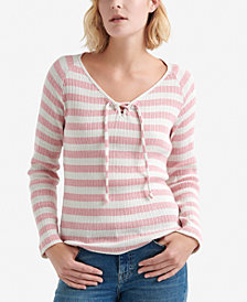Lucky Brand Striped Ribbed Lace-Up V-Neck Top