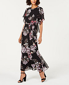 Nine West Printed Flutter Capelet Maxi Dress