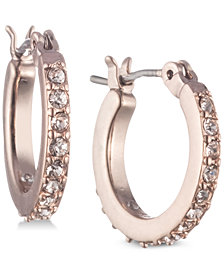 Marchesa Rose Gold-Tone Cubic Zirconia Hoop Earrings
