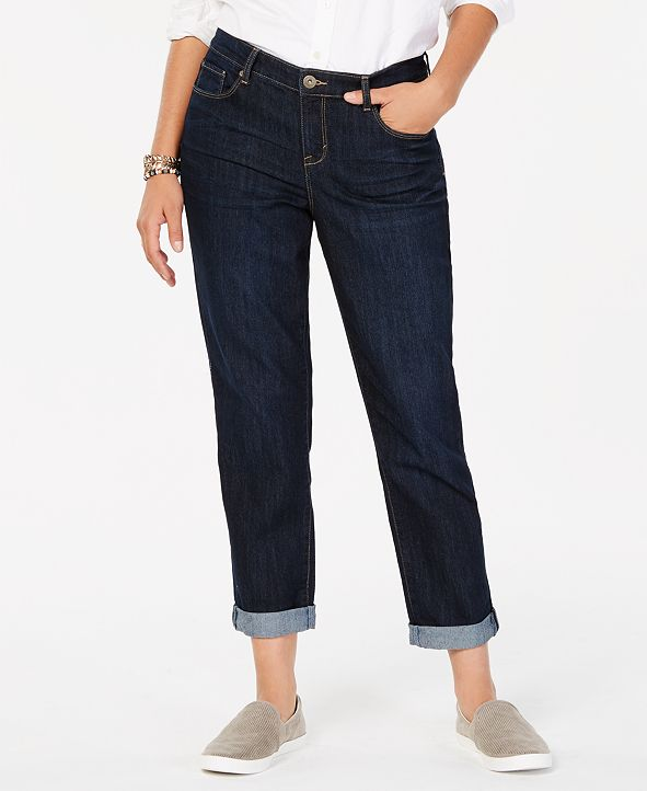 Style & Co Curvy-Fit Cuffed Boyfriend Jeans, Created for Macy's